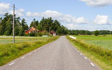 Sommarväg med gröna ängar på båda sidorna av vägen